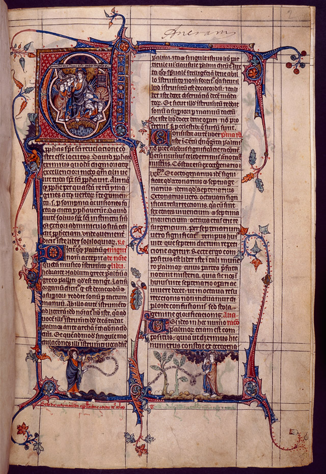 Page from the Tickhill Psalter illuminated manuscript, The New York Public Library