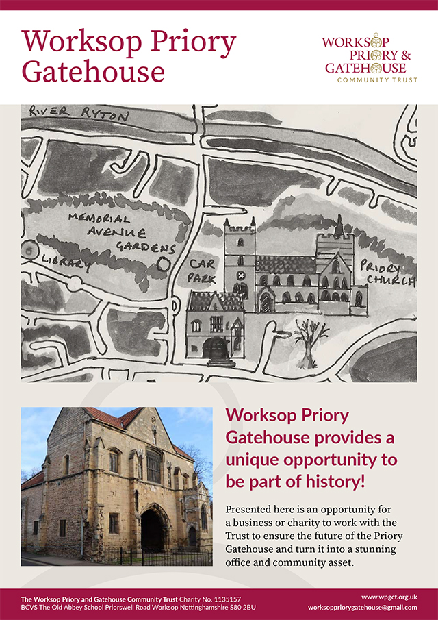 An estate agent type brochure detailing the Worksop Priory Gatehouse