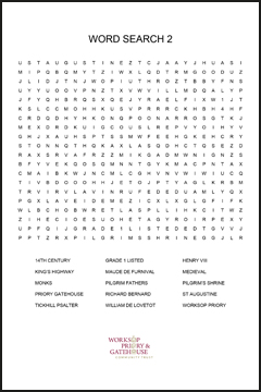 Worksop Priory word search 1 (easier)